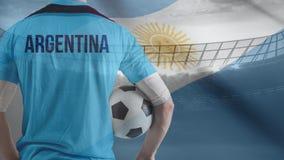 Fußballspiel gegen argentinischen Flaggenhintergrund lizenzfreie abbildung