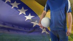 Fußballspiel gegen Bosnien-Flaggenhintergrund vektor abbildung