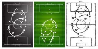 Fußballspiel-Strategienvorstände eingestellt Stockbilder
