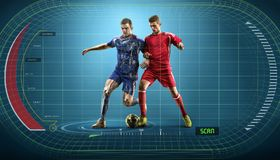 Fußballspieler in der Aktion auf dem wechselwirkenden Darstellungshintergrund Lizenzfreie Stockbilder