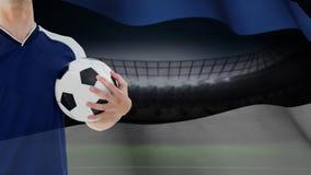 Fußballspieler, der in der Hand Fußball Video hält vektor abbildung