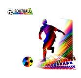 Fußballspieler, der mit dem Ball läuft Stockbild