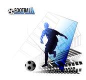Fußballspieler, der mit dem Ball läuft Stockfotografie
