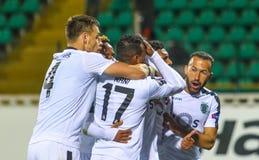 Fußballspieler des portugiesischen Zur Schau tragens stockbilder