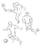Fußballspieler ein Schattenbild Stockbilder