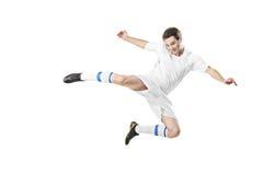 Fußballspieler in einem Sprung stockfoto