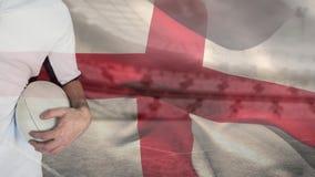 Fußballspieler gegen englischen Flaggenhintergrund lizenzfreie abbildung