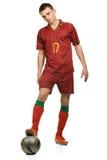 Fußballspieler mit Kugel Lizenzfreies Stockbild