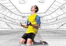 Fußballspieler mit Kugel Stockfotos