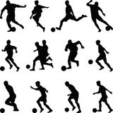 Fußballspieler-Schattenbildvektor Lizenzfreie Stockfotografie