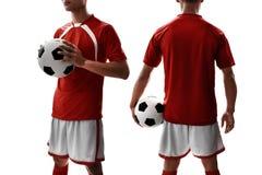 Fußballspieleruniform auf weißem Hintergrund Stockbilder