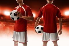 Fußballspieleruniformen im Stadion Lizenzfreie Stockbilder
