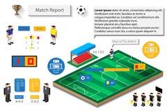Fußballspielstatistikbericht infographic Lizenzfreie Stockfotos