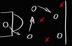 Fußballspielstrategie auf einer Tafel stockbild