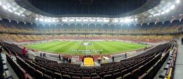 Fußballstadion, bereiten für Meister-Liga vor lizenzfreies stockfoto