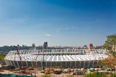 Fußballstadion im Bau stockfoto