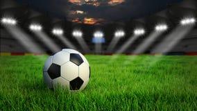 Fußballstadion mit Ball Stockfoto