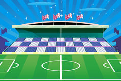 Fußballstadion und ausführliche Tribüne. Lizenzfreie Stockbilder