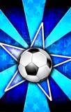 Fußballstar sprengte Blau Stockfotografie