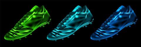 Fußballstiefel des Fußballs 3d im Farbsatz lokalisiert vektor abbildung