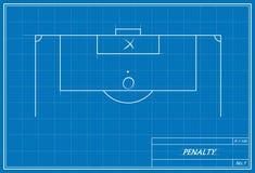 Fußballstrafstoß auf Plan Lizenzfreies Stockbild