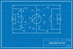 Fußballtaktik auf Plan Stockfoto