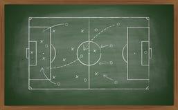 Fußballtaktik auf Tafel Stockfoto