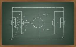 Fußballtaktik auf Tafel Stockfotos