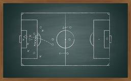 Fußballtaktik auf Tafel Lizenzfreie Stockfotos