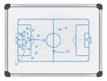 Fußballtaktik auf whiteboard Lizenzfreie Stockfotos
