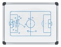 Fußballtaktik auf whiteboard Lizenzfreies Stockfoto
