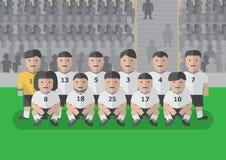 Fußballteam vor flacher Grafik des Matches lizenzfreie stockbilder