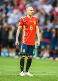 Fußballteammittelfeldspieler Andres Iniesta Spaniens nationaler stockfoto