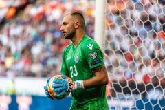 Fußballteamtorhüter Elia Benedettini San Marino nationaler während UEFA-Euroqualifikationsmatches 2020 Russland gegen San Marino  stockbilder