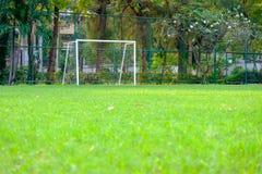 Fußballtor und kleine grüne Rasen zur Wiederholung spielen stockbild