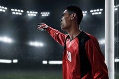 Fußballtorhüter auf den Feldern lizenzfreies stockbild