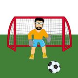Fußballtorhüter auf Handkurbel Vektorillustration des Torhüters im Fußball Stockfotografie