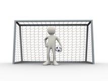 Fußballtorhüter des Fußballs 3d, der im Ziel mit Ball steht Lizenzfreies Stockbild