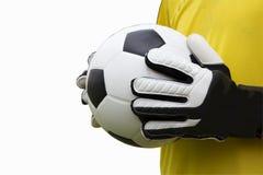Fußballtorhüter mit Ball lizenzfreies stockbild