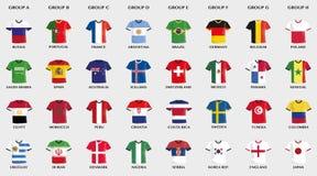 Fußballtrikots mit Landesflaggedesign Stockbild