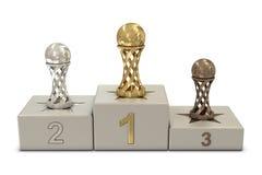 Fußballtrophäen und -podium Lizenzfreie Stockfotos