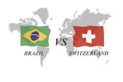 Fußballturnier Russland 2018 Gruppe E Brasilien gegen die Schweiz Lizenzfreie Stockfotos