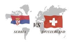 Fußballturnier Russland 2018 Gruppe E Serbien gegen die Schweiz Lizenzfreie Stockbilder
