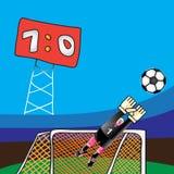 Fußballziel und -torhüter Stockbild
