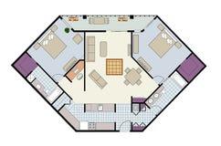 Fußbodenplan der Zweibett Eigentumswohnung mit Höhle, Möbel Stockfotos