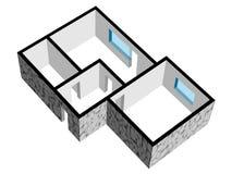 Fußbodenplan des Hauses 3d mit Steinbeschaffenheit Lizenzfreie Stockbilder