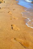 Fußdrucke im Sand Stockbilder