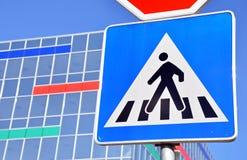 Fußgängerübergang-Zeichen Stockbilder