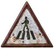 Fußgängerübergangzeichen der Weinlese Lizenzfreie Stockbilder
