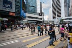 Fußgänger im zentralen Bezirk von Hong Kong Lizenzfreies Stockbild